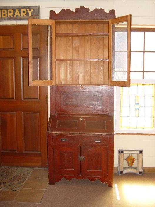 c. 1870's Early Minnesota                                         Rare Double Desk cupboard                                         original Paint, Sponged &                                         Grained
