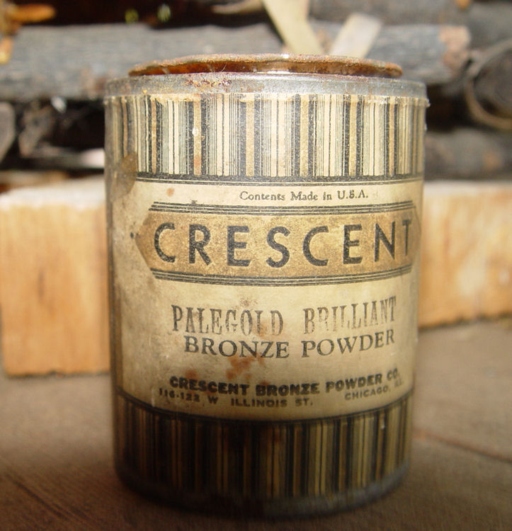 Crescent Bronze... since                                         1922 Antique Tin of Palegold                                         Bronze Powder, full.