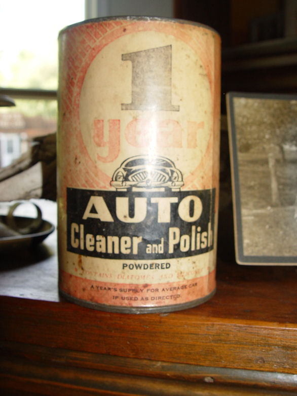 1930's Rare 1 Year Auto                                         Cleaner and Polish ~ Graphic                                         Advertising Tin, Branscombe                                         Chicago