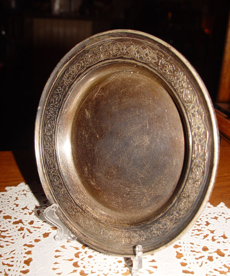 Wilcox & Wagoner New                                         York Sterling Deep Plate Stamped                                         E 2796 ~ Decorated Edging
