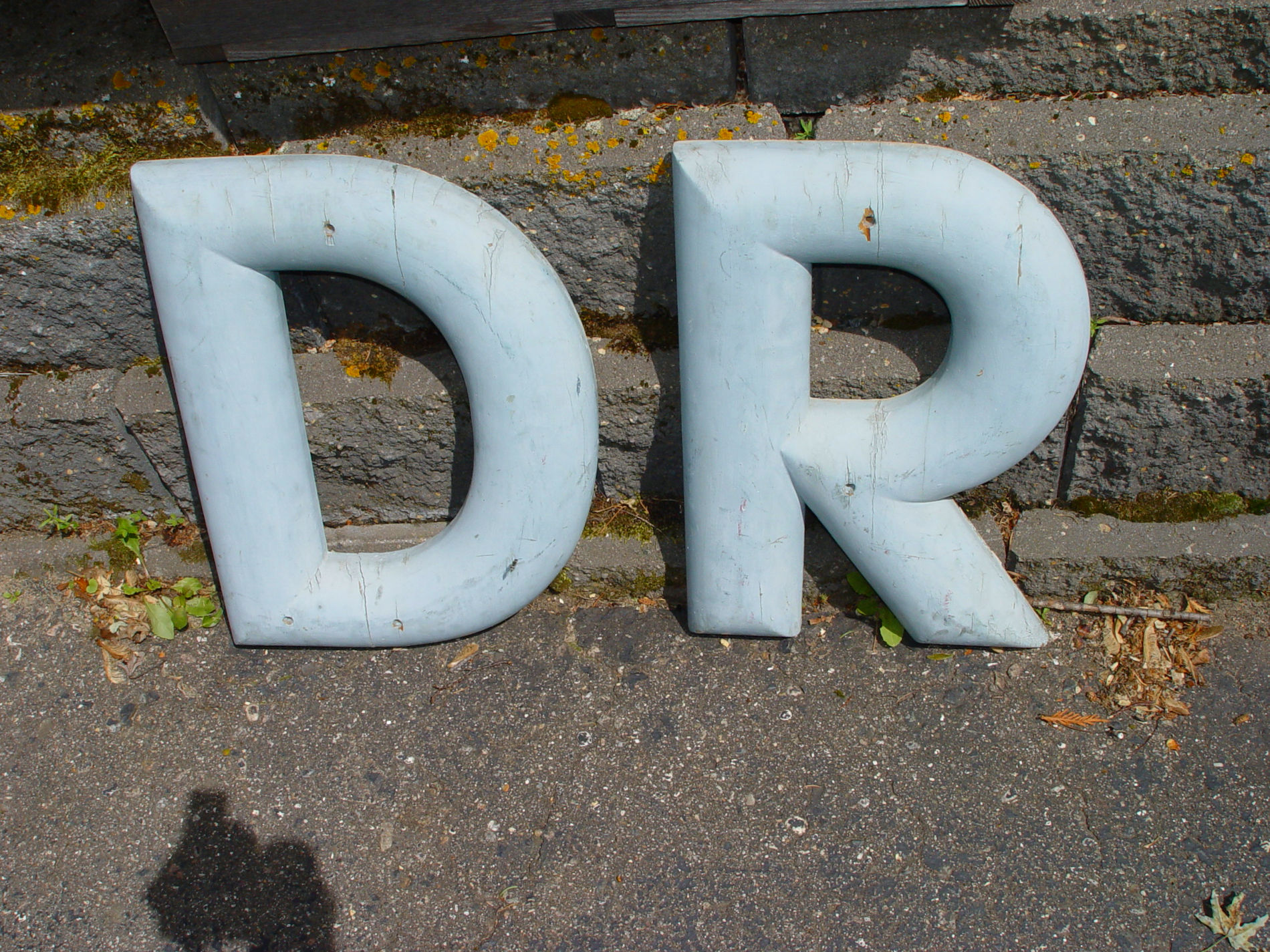"""Antique                                         Marquee Soft Blue Letters                                         """"D - R - W"""" Vintage                                         Storefront Sign Lettering .                                         Typography . Monogram . Rustic                                         Decor . Industrial"""