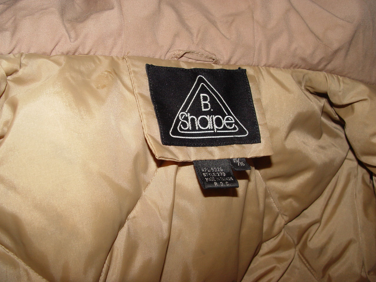 Vintage NOS                                         Insulated Long Parka Hooded                                         Jacket by B. Sharp ~ Tan Winter                                         Outdoor Wear Size 15/16
