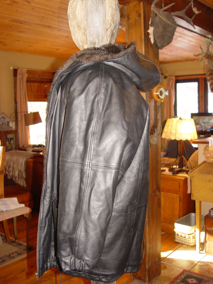 Vintage                                         G4000 Reversible Hooded Leather                                         / Faux Fur Sporty Casual Coat /                                         Jacket Size Small