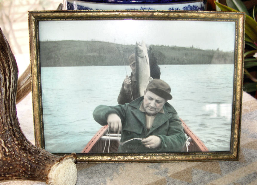 Vintage                                                           hand-tinted                                                           Park Rapids,                                                           MN Fishing on                                                           a Trout Lake                                                           photo ~ Framed                                                           c. 1930's